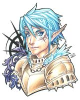 Colored Pencil - Elf Knight by bluessence