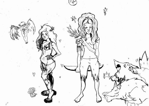 Aphrodite and Artemis by Bunny-love