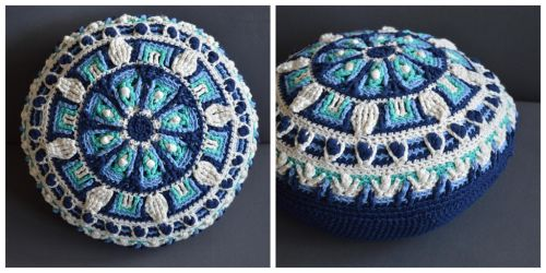 In The Meadow - A crochet overlay mandala pillow by LoopTeeLoops