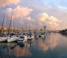 barcelona harbour golden hour by Bootcoot