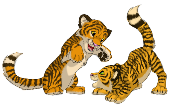 Tigers playing by ShebaWild