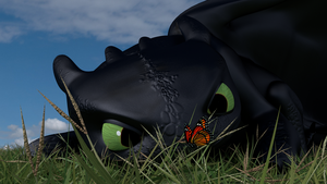 Toothless and butterfly by DragonMatryoshka