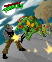 Mikey vs Rocksteady by MikeBock
