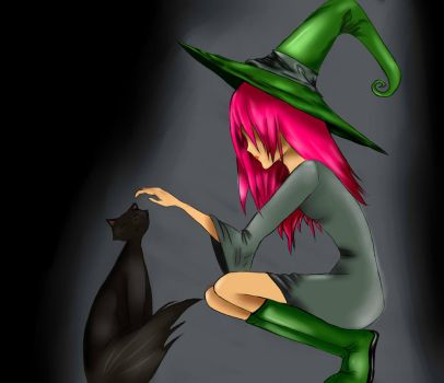 witch with cat by etteleen