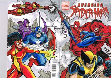 Avenging Spider-Man sketch cover by Jrascoe