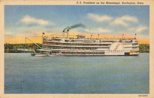 SS President on the Mississippi, Burlington, Iowa by Yesterdays-Paper