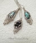 Labradorite and Hypersthene with Silver by blackcurrantjewelry