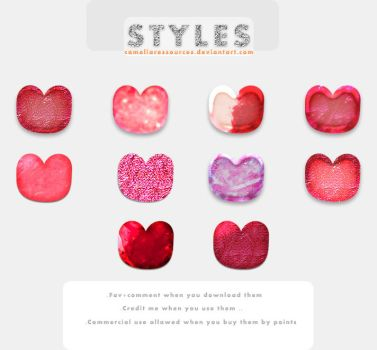 Red And Pink Photoshop Layers Styles by cameliaRessources