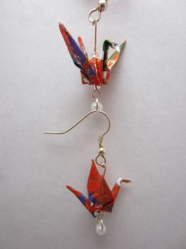 Origami Crane Earrings in Red by taichiorange