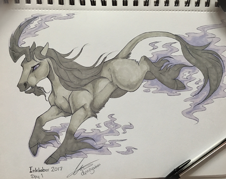 Inktober 2017, Day 1 - Lucid Nightmare by dennyvixen