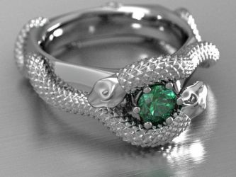 Mens Emerald Snake Ring by lupusk9