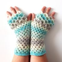 Ice Dragon gloves by FearlessFibreArts