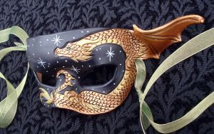 Little Bronze Dragon Mask by merimask