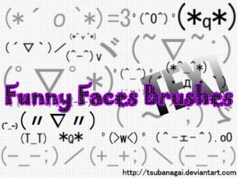 TEXT funny faces brushes by tsubanagai