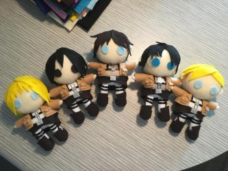Attack on Titan plushies 2018 by AnimeJanice