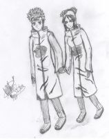 Pein and Konan Holding Hands by Pooka1