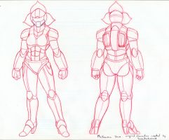Battlesuit turnaround (pencils) by RedShoulder