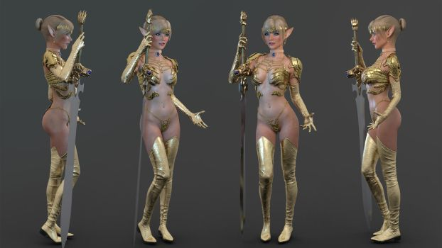 Golden Elf Character Concept by ArroLL