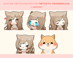 Twitch Emote Commissions for YourSmolFox by Miivei