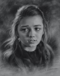 Young girl drawing Maisie Williams 2015 by Drawing-Portraits