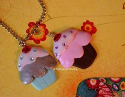 flat cupcakes polymer clay necklaces by Nelespolymerclay