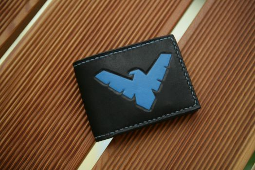 Nightwing leather bifold wallet by Arnakhat
