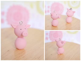 Cute Pig Charm - Polymer Clay Charm by TheLinnypig