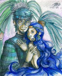 Blue and green by LadyCat17