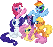 I drew Mane 6... by ColossalStinker