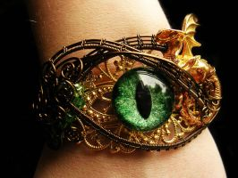 Golden Bronze Dragon Forest Eye Bracelet Cuff by LadyPirotessa