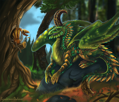 Forest dragoness and her little friend by Kyuush