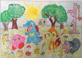 Kirby, Totodile, Chimchar and Shelmet Nature Scene