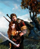 Eskel and DC Witcher 3 by Aeltari