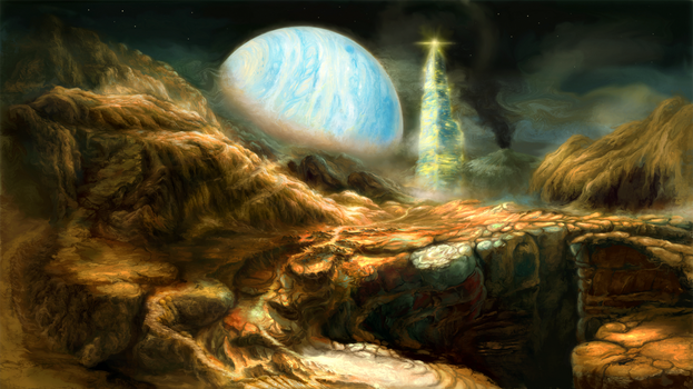 Commission: Colonization of an exo Moon. by ValentiniaK