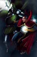 Dr Doom vs Dr Strange by PieroMng