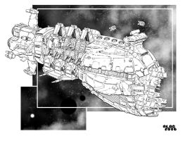 Battletech - Liparius Class Mobile Shipyard. by sharlin