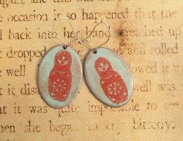 Matryoshka Nesting Dolls Torch Enamel Earrings by FusedElegance