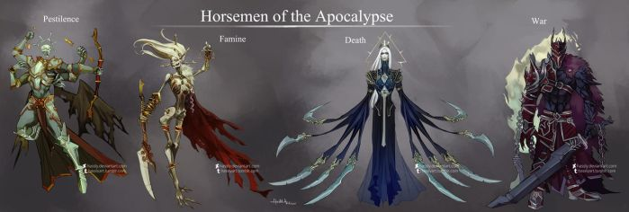 Commission: The Four Horsemen Of The Apocalypse by Hassly