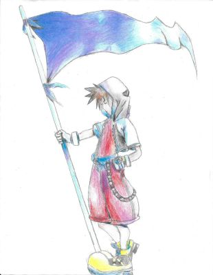 Kingdom Hearts- Sora with Flag by CelestialSeraphine