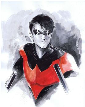 nightwing Watercolor testing by Peter-v-Nguyen