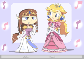 Peach and Zelda by Alessia-Nin10doh