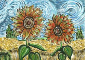 Rereading - Cedar, wheat field and sunflowers by LaisLS