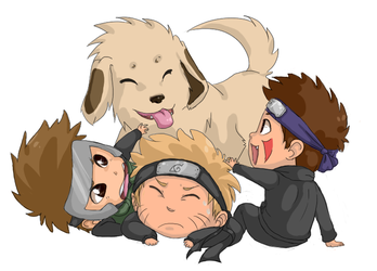 Naruto - Chibi Dog Pile by Teh-Great-Ippeh
