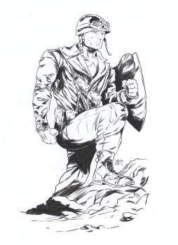 Captain America [Pencil and ink on paper - A4] by LudoDRodriguez