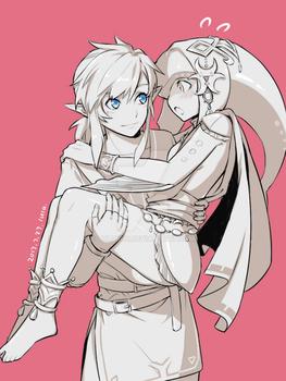 link and mipha by lulubuu
