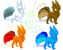 Elemental Kitsune Adopts CLOSED! by PsychoRainbowJuice