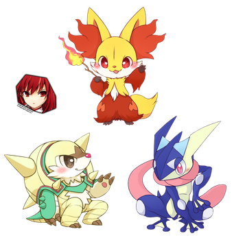 Pokemon XY starters final evolution chibi render by OneExisting