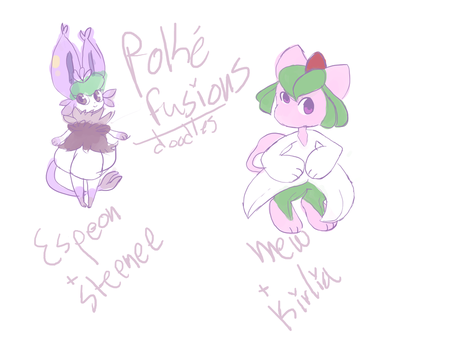 doodles of some pokefusions i made by xyriiia