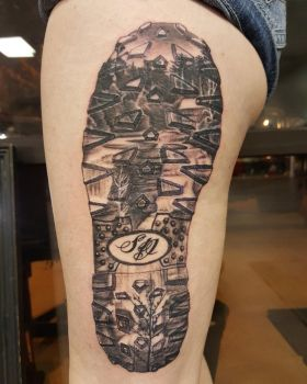 Memorial boot tattoo by Pinkuh