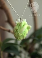 Green white heart from polymer clay by Krinna